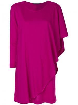 Трикотажное платье с драпировкой Alberta Ferretti. Цвет: розовый и фиолетовый