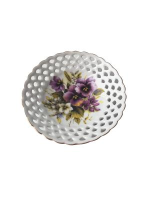 Декоративная кружевная тарелка Фиалка. Reutter Porzellan. Цвет: зеленый, фиолетовый, белый