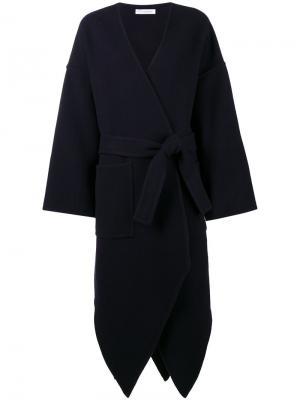 Асимметричное пальто с поясом JW Anderson. Цвет: синий