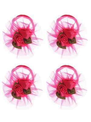 Бантики для волос на длинных резинках с розочками, набор 2 по шт, розовые Радужки. Цвет: розовый