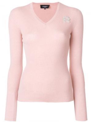 Пуловер с V-образным вырезом ребристой фактурой Rochas. Цвет: телесный