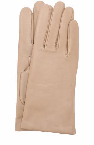 Кожаные перчатки с подкладкой из кашемира и шерсти Agnelle. Цвет: бежевый