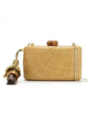 Соломенная сумка-клатч Serpui. Цвет: телесный