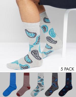 Urban Eccentric Набор из 5 пар носков с принтом пейсли. Цвет: мульти
