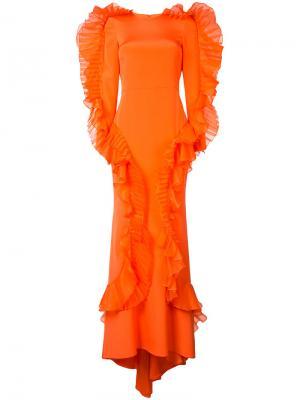 Вечернее платье с оборками Christian Siriano. Цвет: жёлтый и оранжевый