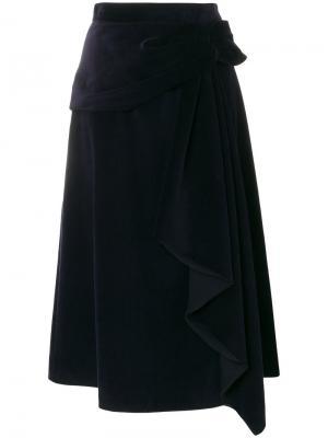 Асимметричная юбка с драпировкой Prada. Цвет: синий