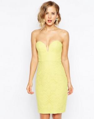 Forever Unique Кружевное платье-бандо с вырезом сердечком. Цвет: фиолетовый