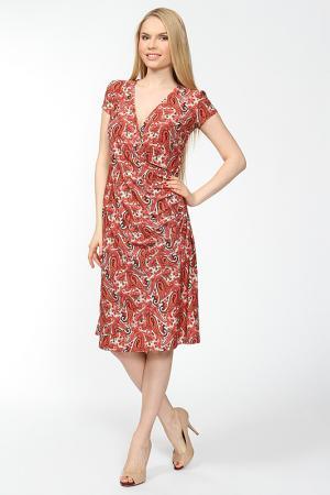 Платье принт огурцы Arrangee. Цвет: бежево-коралловый