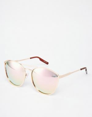 Quay Australia Солнцезащитные очки в круглой металлической оправе с зеркальными стекл. Цвет: золотой