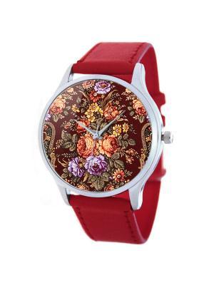 Дизайнерские часы Узор из роз Tina Bolotina. Цвет: красный