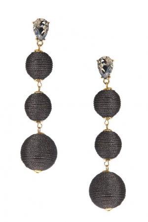 Серьги-шары с отделкой серебристыми нитками Lisa Smith. Цвет: темно-лиловый/прозрачный/золотой