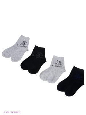 Носки, 4 пары Cascatto. Цвет: светло-серый