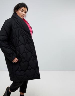 Lazy Oaf Дутая оверсайз-куртка с контрастной подкладкой. Цвет: черный