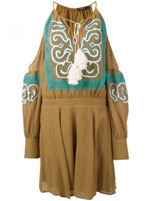Платье с открытыми плечами и оборками Wandering. Цвет: коричневый