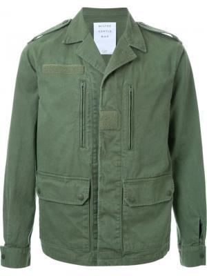 Куртка с стиле милитари Mr. Gentleman. Цвет: зелёный