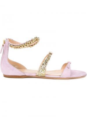 Декорированные сандалии Giambattista Valli. Цвет: розовый и фиолетовый