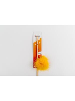 Игрушка для кошки Бамбук меховой мячик на резинке 60см Zoobaloo. Цвет: оранжевый