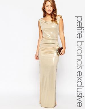 Lipstick Boutique Petite Платье макси цвета золотой металлик. Цвет: золотой