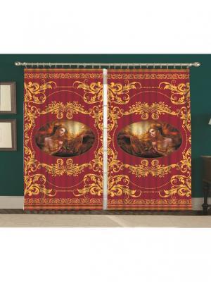 Комплект штор Золотая Византия150*270 (2) МарТекс. Цвет: бордовый