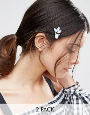 ASOS Набор из 2 заколок для волос с отделкой. Цвет: мульти