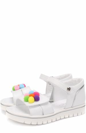 Кожаные сандалии с застежками велькро и декором Missouri. Цвет: белый