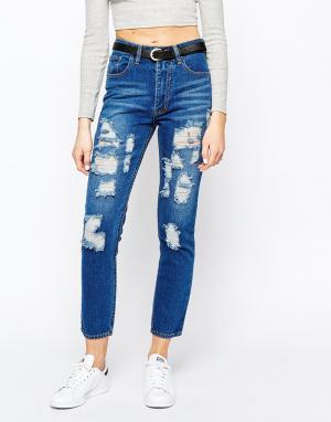 Good Vibes, Bad Daze Рваные джинсы бойфренда с завышенной талией Vibes