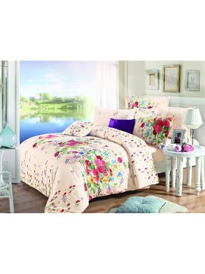Постельное белье, евро 1st Home. Цвет: бежевый, кремовый, розовый