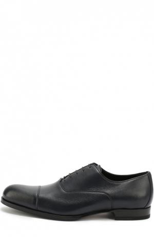 Классические кожаные оксфорды A. Testoni. Цвет: темно-синий