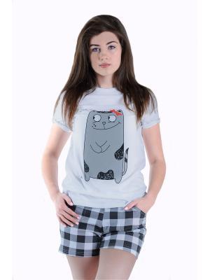 Пижама Малина. Цвет: серый, белый