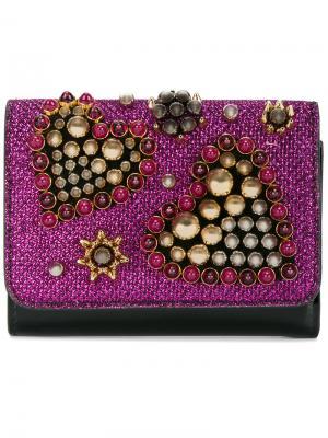 Декорированный бусинами кошелек Macaron Christian Louboutin. Цвет: чёрный