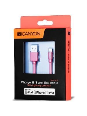 Ультра - плоский кабель MFI (сертифицированный компанией Apple) Canyon CNS-MFIC2R. Цвет: красный
