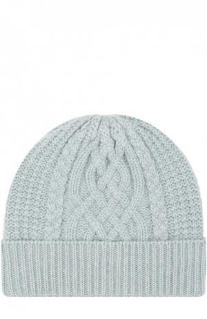 Вязаная шапка из кашемира Johnstons Of Elgin. Цвет: голубой