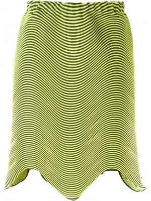 Асимметричная плиссированная юбка Issey Miyake. Цвет: жёлтый и оранжевый