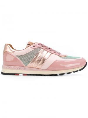 Кроссовки с металлизированной отделкой Bally. Цвет: розовый и фиолетовый