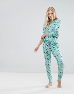 Chelsea Peers Пижамный комплект с принтом. Цвет: зеленый