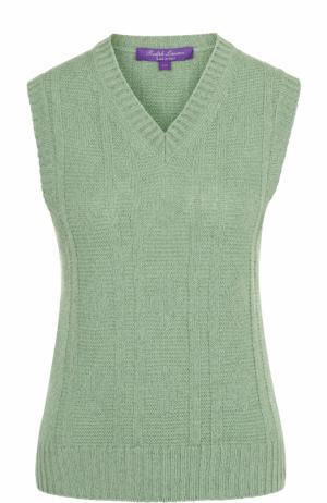 Жилет из смеси льна и кашемира с V-образным вырезом Ralph Lauren. Цвет: зеленый