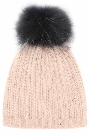Вязаная шапка из смеси шерсти и кашемира с меховым помпоном Yves Salomon Enfant. Цвет: синий