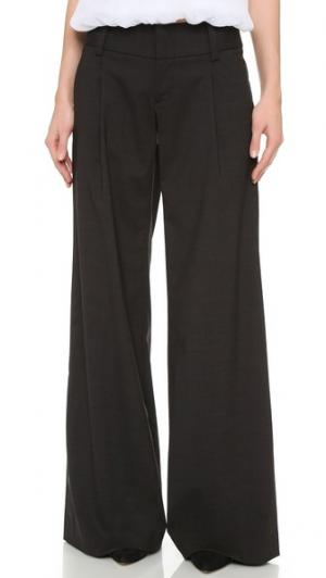 Широкие брюки Eric со складками спереди alice + olivia. Цвет: серый