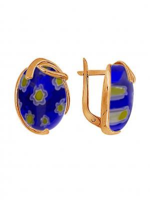 Серебряные серьги KRASNOE. Цвет: золотистый, синий