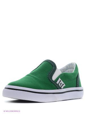 Слипоны 4U. Цвет: зеленый, темно-зеленый
