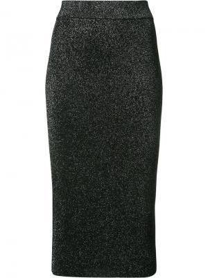 Приталенная юбка-миди с эффектом металлик Cushnie Et Ochs. Цвет: чёрный