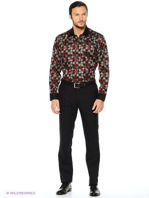 Рубашка KARFLORENS. Цвет: серый, темно-красный