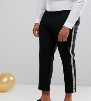 ASOS Черные брюки скинни с золотистыми полосками по бокам PLUS. Цвет: черный