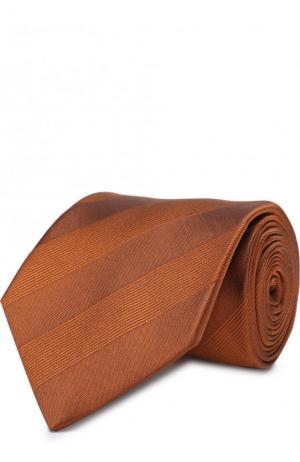 Шелковый галстук в полоску Lanvin. Цвет: светло-коричневый