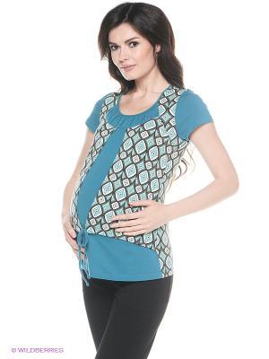 Блузка для беременных и кормления 40 недель. Цвет: бирюзовый