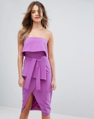 Lavish Alice Платье миди бандо. Цвет: фиолетовый
