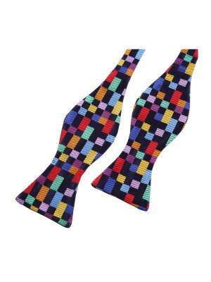 Галстук бабочка Boolean Boxes Smalt Duchamp. Цвет: черный,синий,светло-зеленый,сиреневый,фиолетовый,красный,желтый