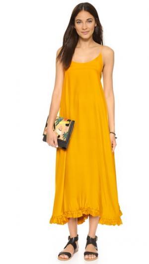 Шелковое макси-платье Mara Rhode Resort. Цвет: канареечный