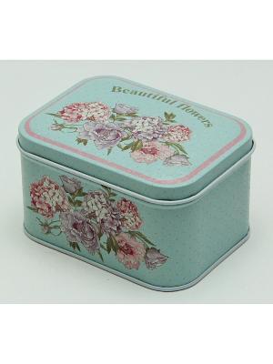 Коробка для безделушек и мелочей Красивые цветы Magic Home. Цвет: бирюзовый