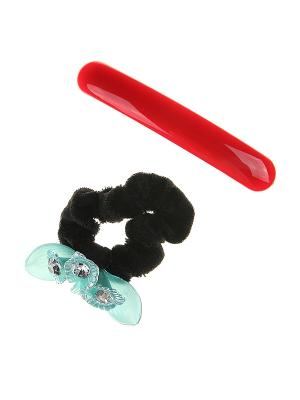 Комплект (Резинка для волос, заколка автомат) Happy Charms Family. Цвет: красный, голубой, черный